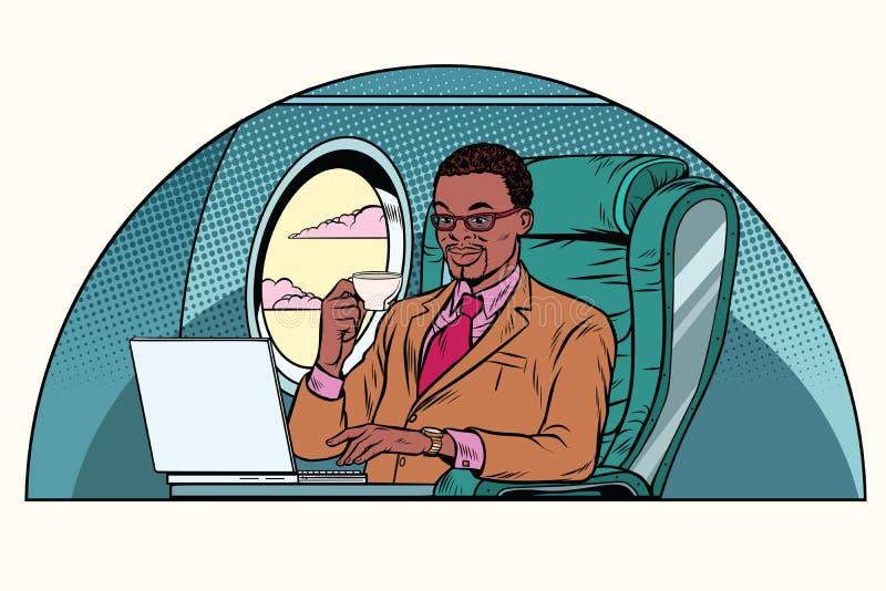 Affärsman som arbetar i kabinen för affärsgrupp stock illustrationer