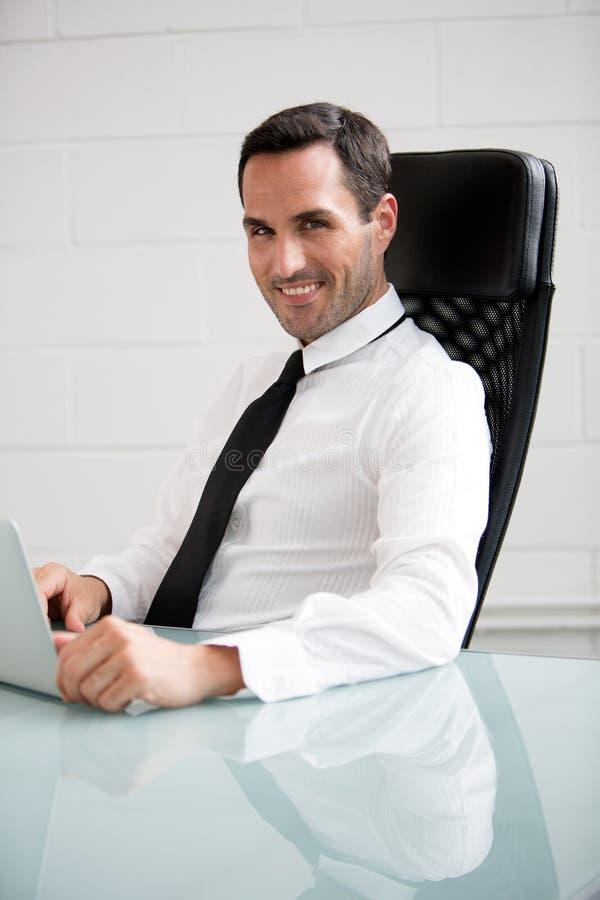 Affärsman som arbetar med en bärbar datordator royaltyfri fotografi