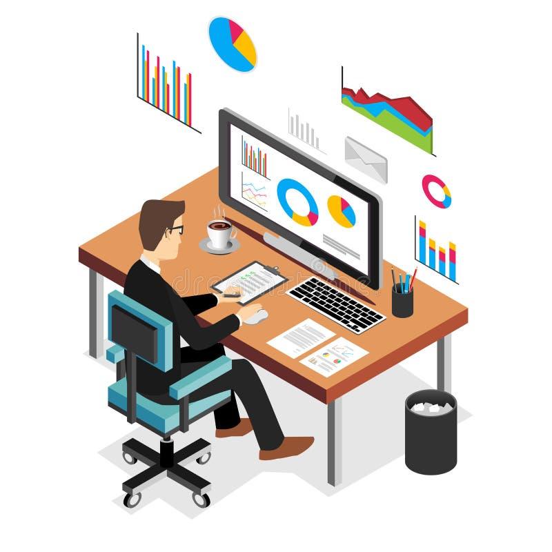 Affärsman som arbetar och analyserar finansiell statistik Begrepp för affärsanalys vektor illustrationer