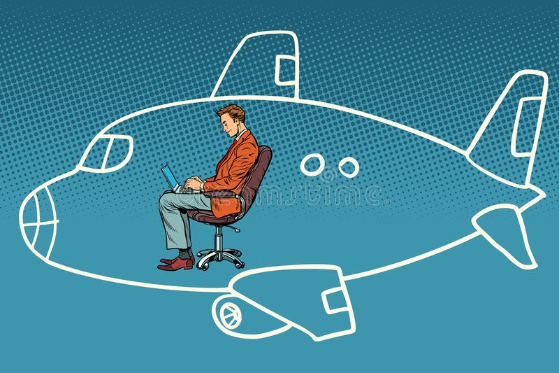 Affärsman som arbetar på en bärbar dator, drömmar av flyget i ett flygplan stock illustrationer