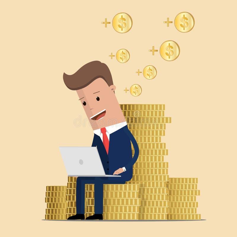 Affärsman som arbetar på hans bärbar dator och tjänar pengar Affärsmanförtjänstpengar från online-affär On-line affärsidé Vec stock illustrationer