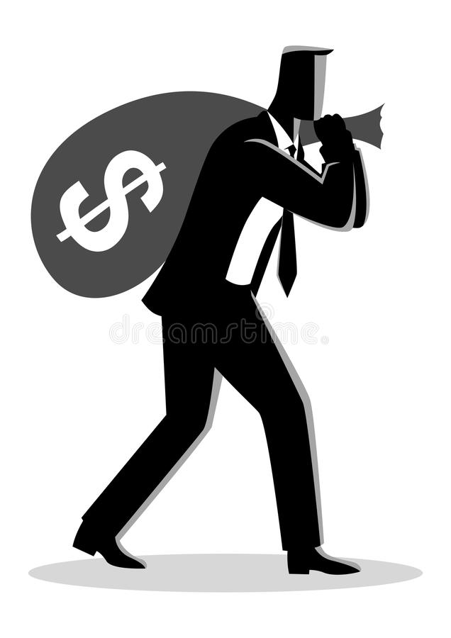 Affärsman som bär en pengarpåse på hans skuldra royaltyfri illustrationer