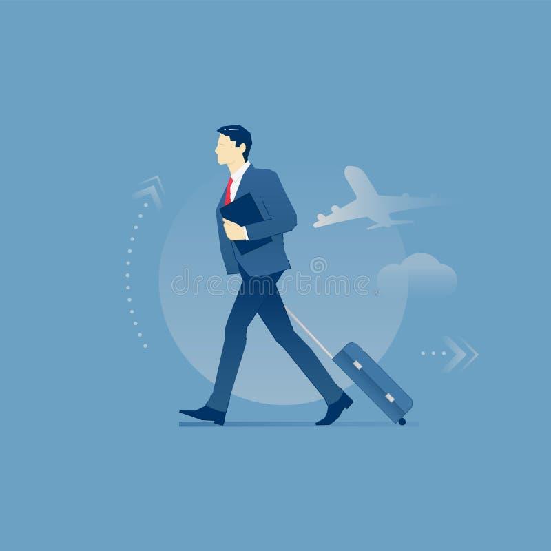Affärsman som bär ett bagage i affärstur royaltyfri illustrationer