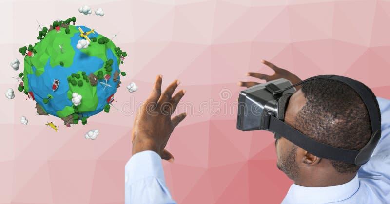 Affärsman som bär VR-exponeringsglas, medan göra en gest vid låg poly jord stock illustrationer