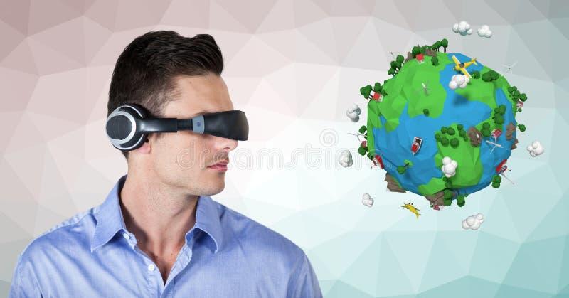 Affärsman som bär VR-hörlurar vid låg poly jord royaltyfri illustrationer