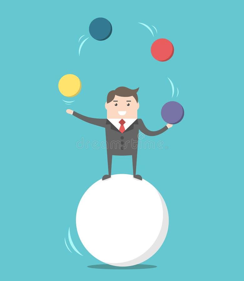 Affärsman som balanserar på boll royaltyfri illustrationer