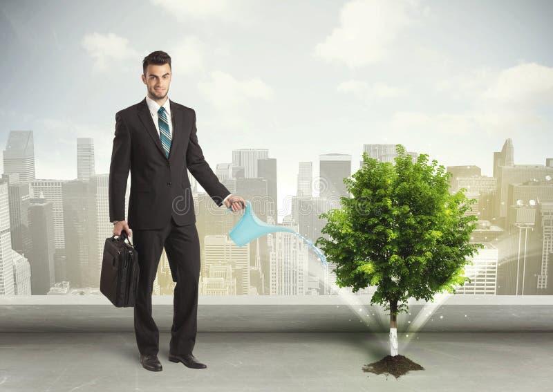Affärsman som bevattnar det gröna trädet på stadsbakgrund fotografering för bildbyråer