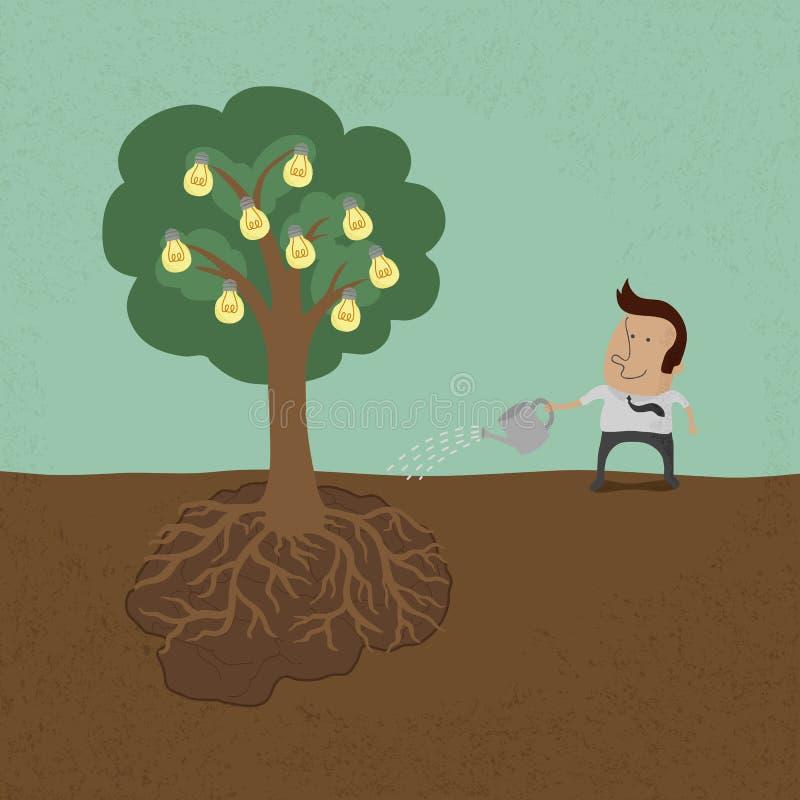 Affärsman som bevattnar idéträdet royaltyfri illustrationer