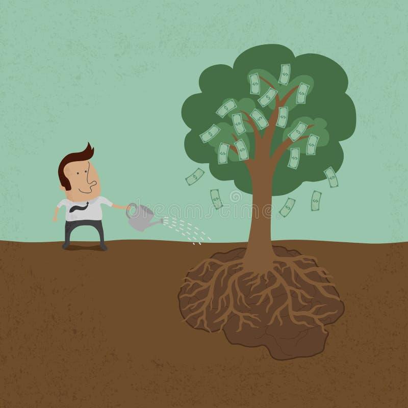 Affärsman som bevattnar pengarträdet royaltyfri illustrationer