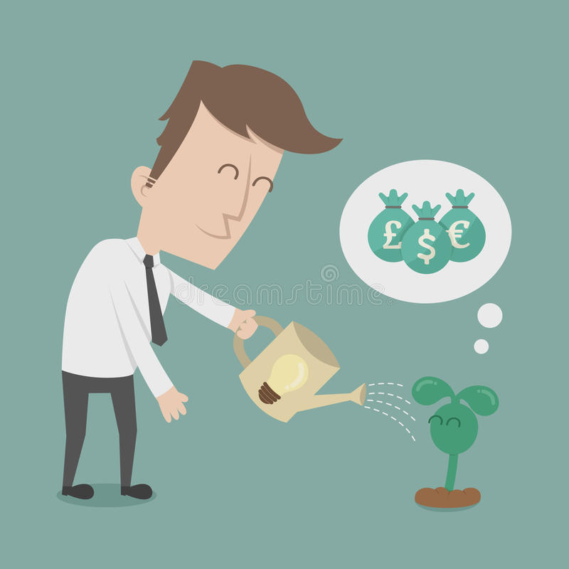 Affärsman som bevattnar pengarträdet vektor illustrationer
