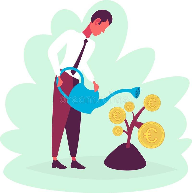 Affärsman som bevattnar strategi för ackumulation för mynt för euro för begrepp för rikedom för pengarväxttillväxt framtida lycka royaltyfri illustrationer