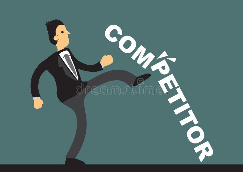 Affärsman som bryter en betitlad konkurrent för konkret kvarter Begrepp royaltyfri illustrationer