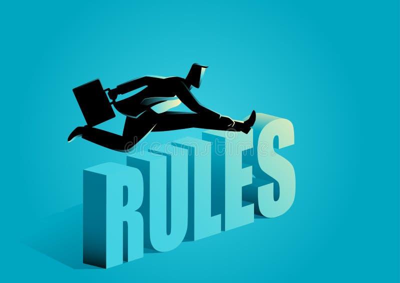Affärsman som bryter reglerna royaltyfri illustrationer