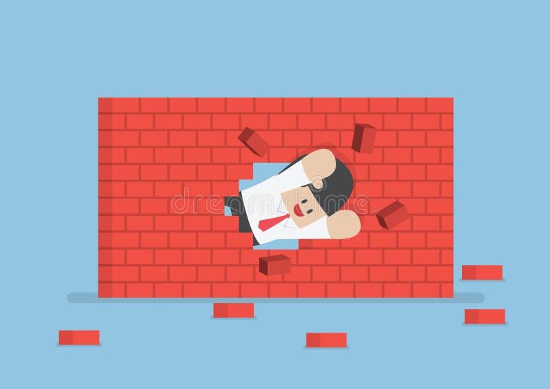 Affärsman som bryter till och med väggen vektor illustrationer