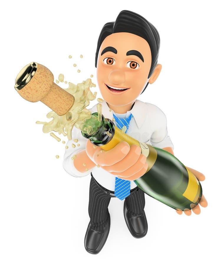 affärsman som 3D korkar upp en flaska av champagne royaltyfri illustrationer
