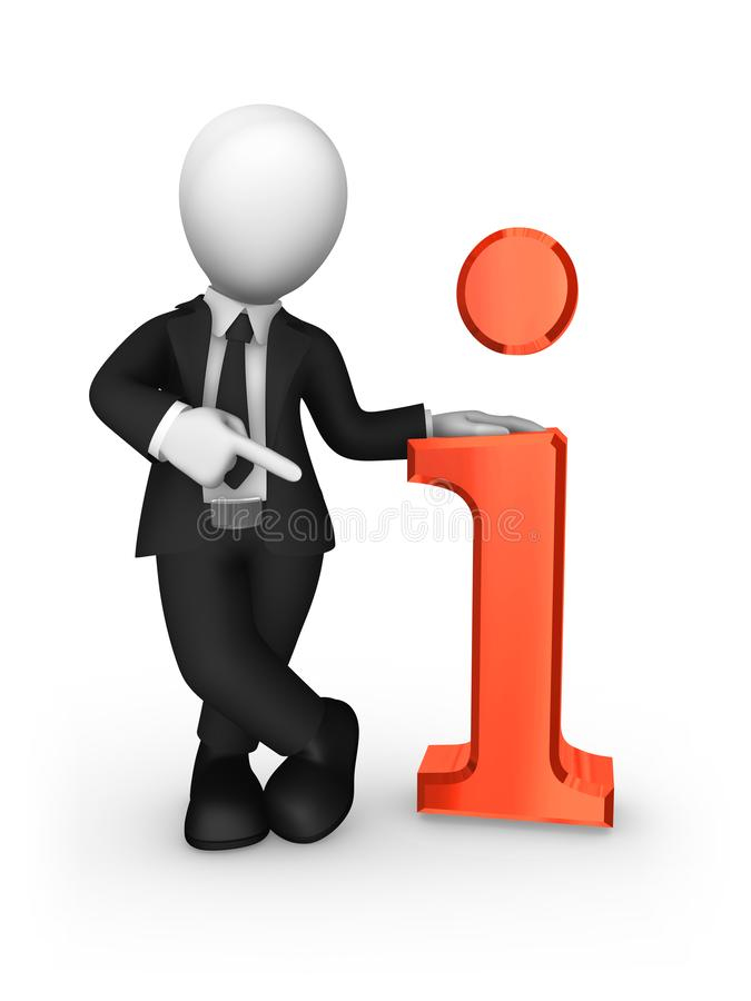 affärsman som 3d pekar finget på det stora röda informationssymbolet stock illustrationer