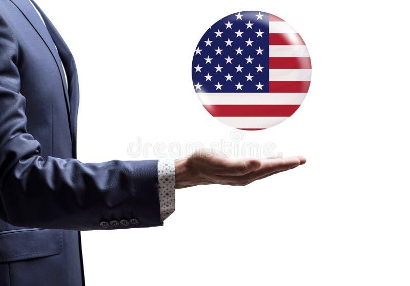 Affärsman som delar bubblan med USA flaggan arkivfoto