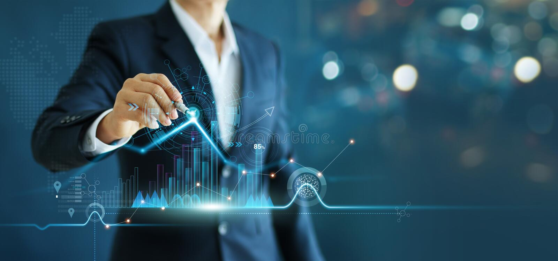 Affärsman som drar försäljningar och data för tillväxtgrafdiagram som är ekonomiska på global strukturnätverkandeanslutning royaltyfria bilder