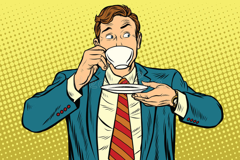 Affärsman som dricker koppen kaffe som från sidan ser stock illustrationer