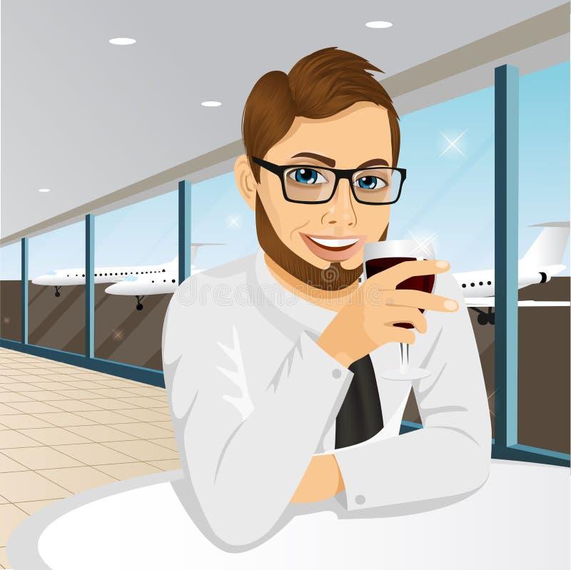 Affärsman som dricker vin i restaurang stock illustrationer