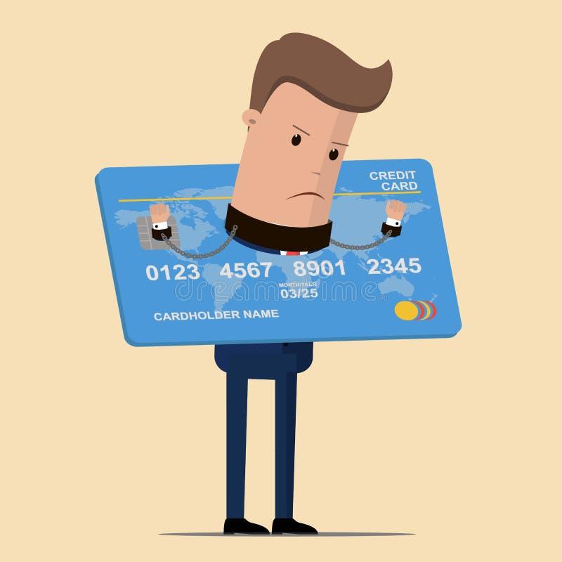 Affärsman som fängslas av skulden av en kreditkort Affärs- och finansbegrepp också vektor för coreldrawillustration stock illustrationer