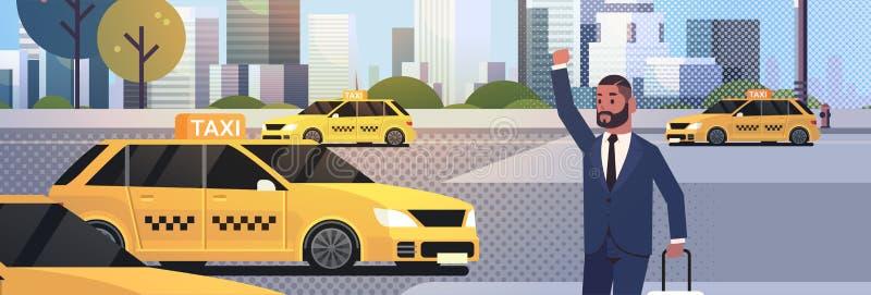 Affärsman som fångar taxien på man för affär för gataafrikan amerian med bagage som stoppar gult taxistadstrans. vektor illustrationer