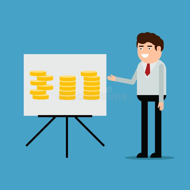Affärsman som för en rapport vektor illustrationer