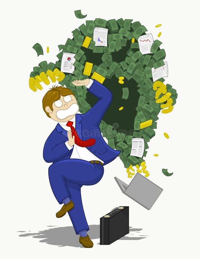 Affärsman som förkrossas av monstret av girighet och spekulation vektor illustrationer