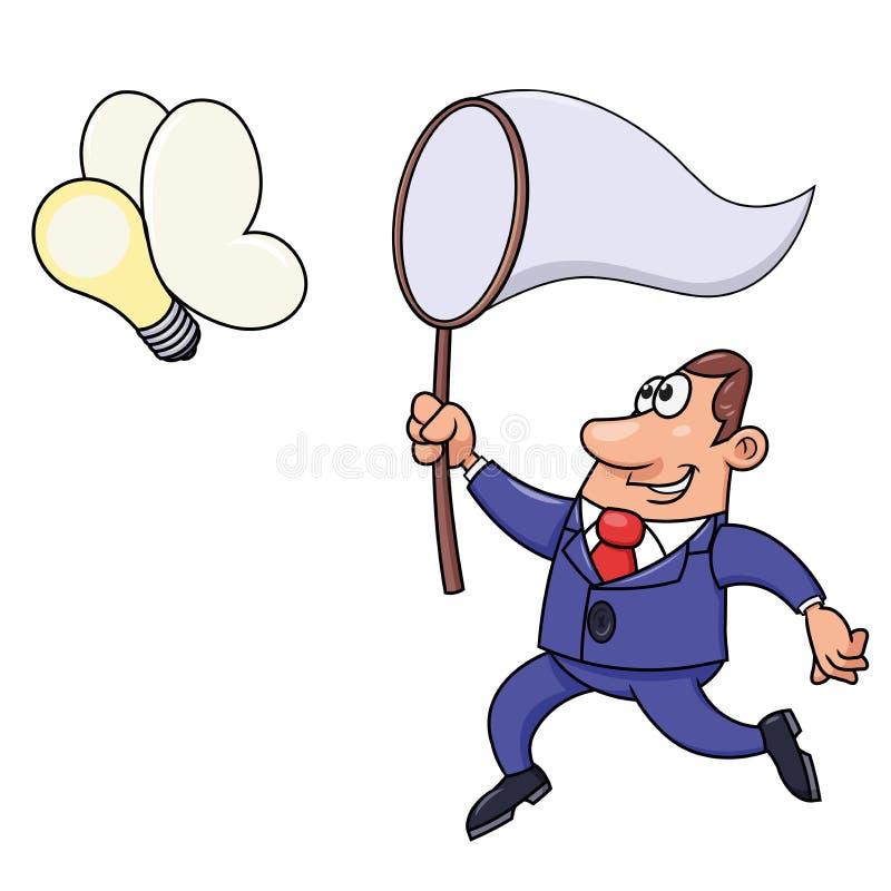 Affärsman som försöker att fånga en idé för ljus kula vektor illustrationer