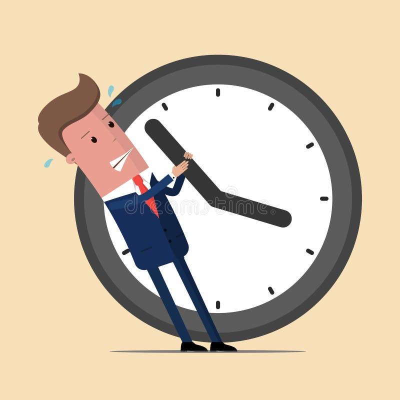 Affärsman som försöker att stoppa tiden Plan illustration för vektor stock illustrationer
