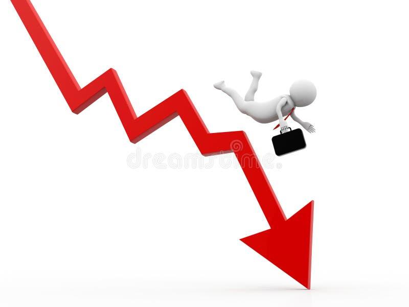 Affärsman som faller från grafen, finanskrisbegrepp, ekonomisk kris Affärsnedgång, tolkning 3d stock illustrationer