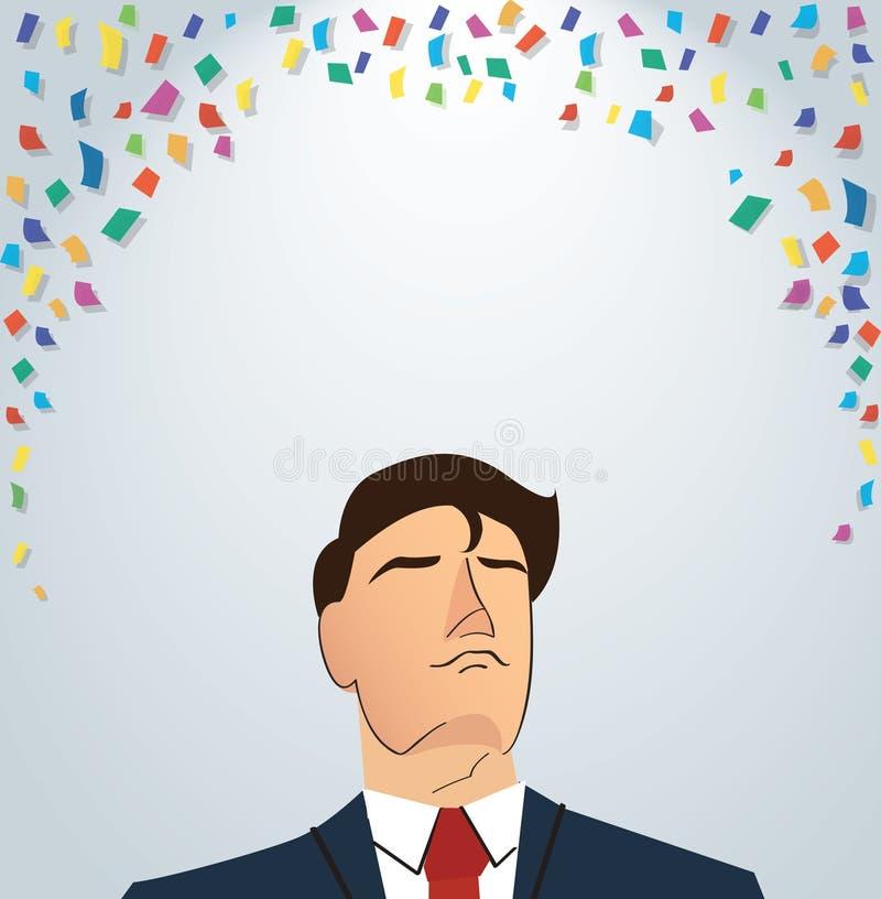 Affärsman som firar en lyckad prestation Ingen stordia royaltyfri illustrationer