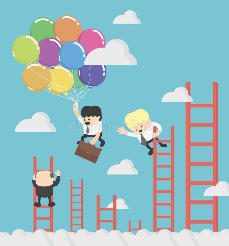 Affärsman som flyger rymma lyckligt en ballong över carrerstege stock illustrationer