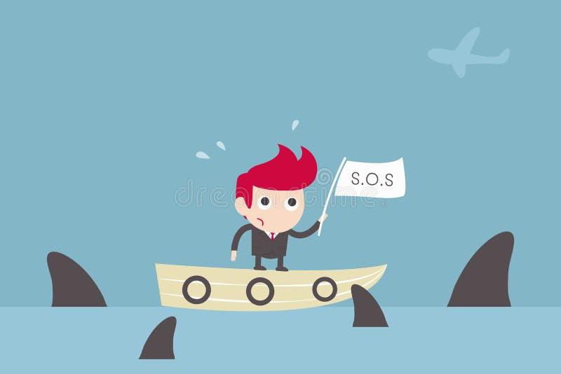 Affärsman och hajar vektor illustrationer