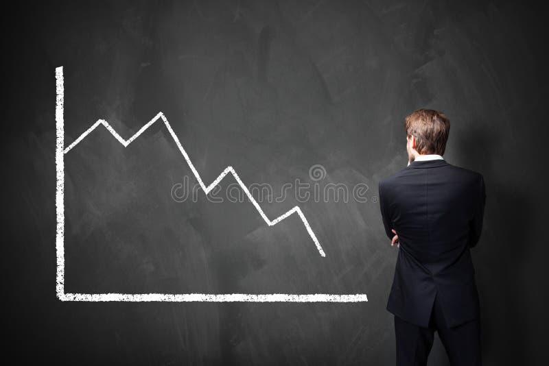 Affärsman som framme står av ett minskande diagram på en svart tavla royaltyfri fotografi