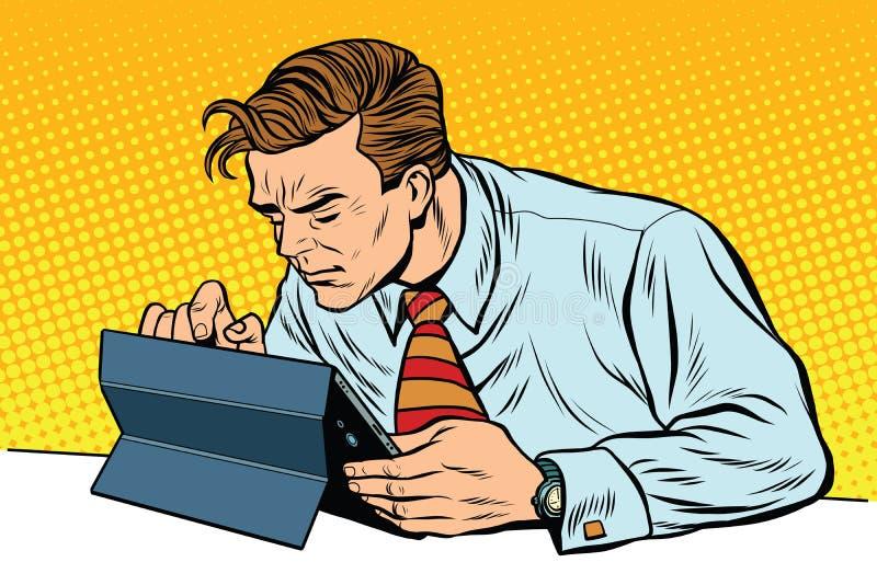 Affärsman som fungerar på tableten vektor illustrationer