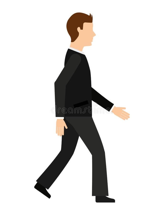 affärsman som går isolerad symbolsdesign vektor illustrationer
