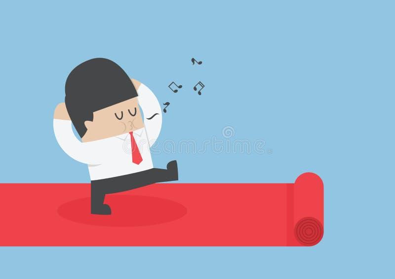 Affärsman som går på den röda mattan stock illustrationer
