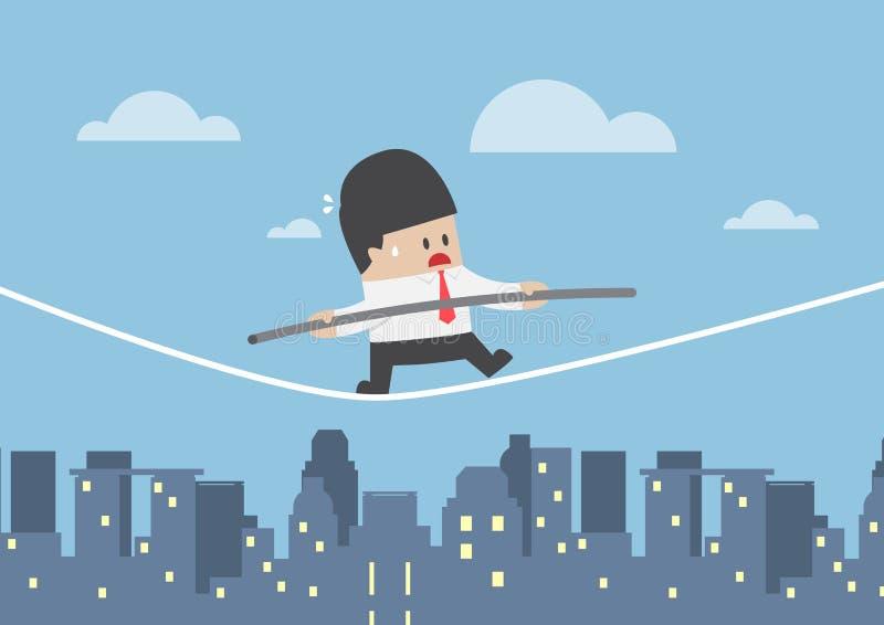 Affärsman som går på ett rep över staden vektor illustrationer
