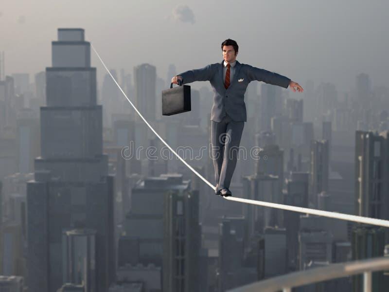 Affärsman som går på spänd lina vektor illustrationer