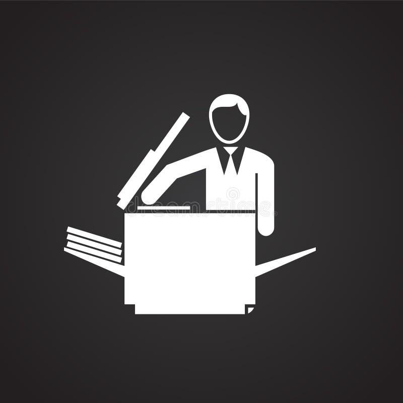 Affärsman som gör en kopia på svart bakgrund royaltyfri illustrationer