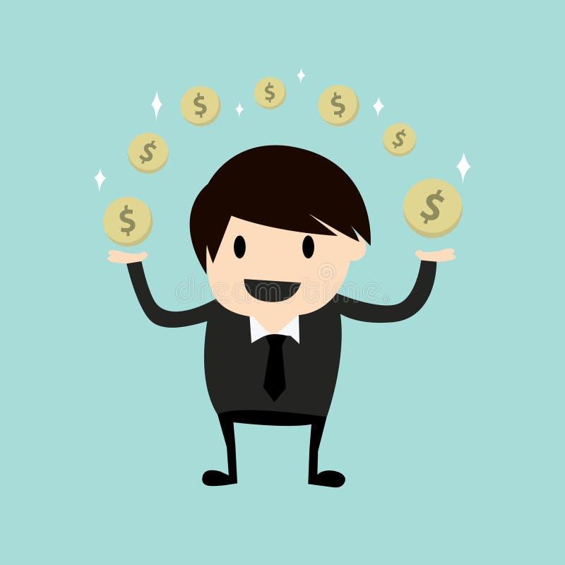 Affärsman som gör pengar stock illustrationer