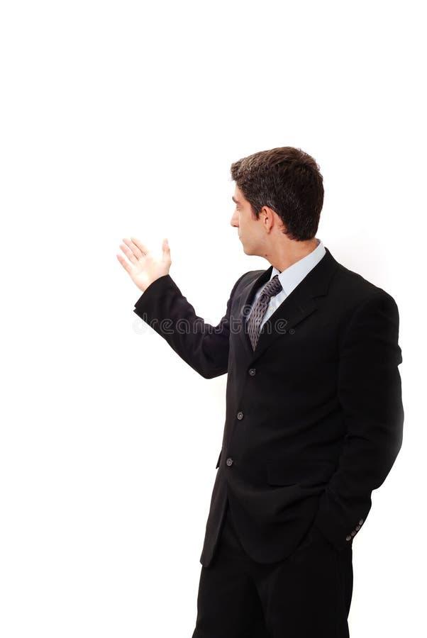 affärsman som gör presentation royaltyfri bild