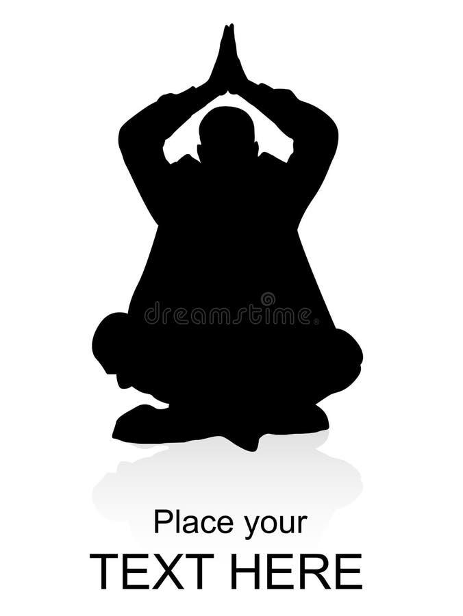 affärsman som gör yoga stock illustrationer