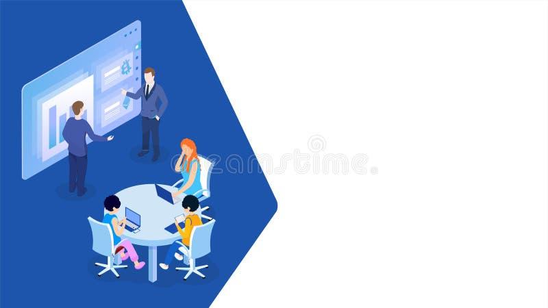 Affärsman som ger en presentation i ett konferensmöte för teamworkbegrepp royaltyfri illustrationer
