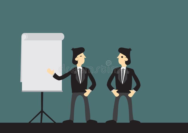 Affärsman som ger en presentation till hans framstickande Begrepp av företags breddsteg, affärskommunikationen och teamwork Isole vektor illustrationer