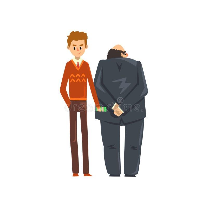 Affärsman som ger mutapengar, korruption och illustrationen för bestickningbegreppsvektor royaltyfri illustrationer