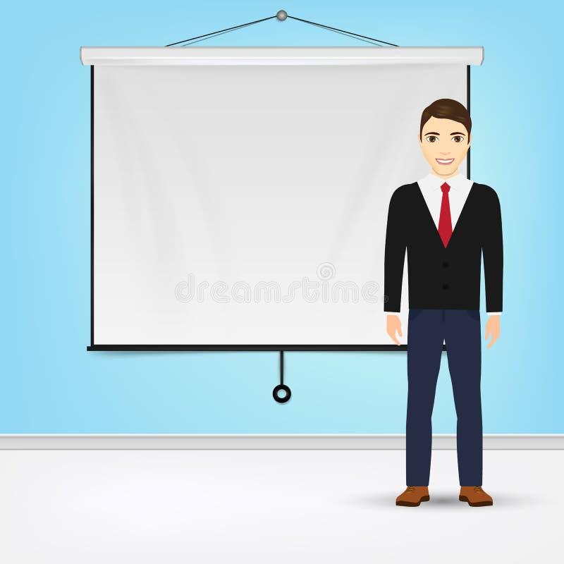 Affärsman som ger presentation med det vita brädet för projektorskärm Illustration för presentationsbegreppsvektor stock illustrationer