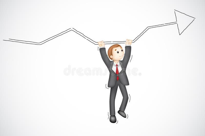 Affärsman som hänger från pil vektor illustrationer