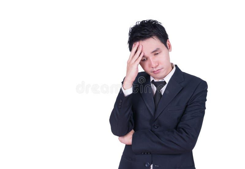 affärsman som har huvudvärk arkivfoto